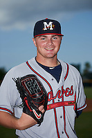 Mississippi Braves pitcher Sean Newcomb (15) poses for a photo before a game against the Jacksonville Suns on May 1, 2016 at The Baseball Grounds in Jacksonville, Florida.  Jacksonville defeated Mississippi 3-1.  (Mike Janes/Four Seam Images)