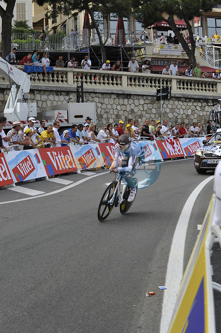 AG2R La Mondiale team rider Rinaldo Nocentini (ITA) rounds the last bend of the Prologue Stage 1 of the 2009 Tour de France a 15.5km individual time trial held around Monaco. 4th July 2009 (Photo by Eoin Clarke/NEWSFILE)