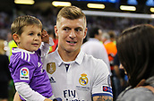 June 3rd 2017, National Stadium of Wales , Wales; UEFA Champions League Final, Juventus FC versus Real Madrid; Toni Kroos of Real Madrid with his child after the match
