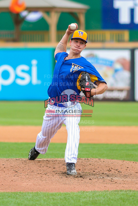 Wisconsin Timber Rattlers pitcher Josh Pennington (26) delivers a pitch during a Midwest League game against the Cedar Rapids Kernels on August 6, 2017 at Fox Cities Stadium in Appleton, Wisconsin.  Cedar Rapids defeated Wisconsin 4-0. (Brad Krause/Four Seam Images)
