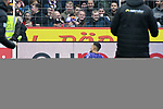 09.11.2019, Stadion an der Bremer Brücke, Osnabrück, GER, 2. FBL, VfL Osnabrueck vs. VfB Stuttgart<br /> <br /> ,DFL REGULATIONS PROHIBIT ANY USE OF PHOTOGRAPHS AS IMAGE SEQUENCES AND/OR QUASI-VIDEO, <br />   <br /> im Bild<br /> Marcos Alvarez (VfL Osnabrück #9) jubelt nach seinem Tor zum 1:0. Jubel / Freude / Emotion / Torjubel / Torschuetze / Torschütze<br /> <br /> <br /> Foto © nordphoto / Paetzel