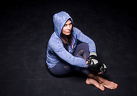 MMA fighter Cat Zingano (cq) at a MusclePharm gym in Denver, Colorado, Friday, November 7, 2014. In 2013, Zingano became the first woman to win a UFC fight by technical knockout and is currently the number three ranked pound-for-pound female MMA fighter in the world.<br /> <br /> Photo by Matt Nager