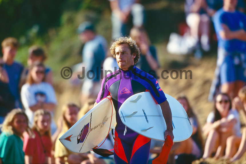 Two times World Professional Surfing Champion Tom Carroll (AUS)  at the1993  Rip Curl Pro, Bells Beach, Torquay, Victoria, Australia.  Photo: joliphotos.com
