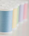 USA, Illinois, Metamora, multi colored thread spools