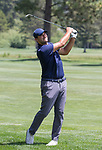 Tony Romo hit a shot on the 14th hole during the American Century Championship at Edgewood Tahoe Golf Course in Stateline, Nevada, Sunday, July 15, 2018.