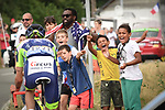 Thomas Degand (BEL) Wanty-Groupe Gobert out front cheered on by fans during Stage 7 of the 2018 Tour de France running 231km from Fougeres to Chartres, France. 13th July 2018. <br /> Picture: ASO/Pauline Ballet | Cyclefile<br /> All photos usage must carry mandatory copyright credit (&copy; Cyclefile | ASO/Pauline Ballet)