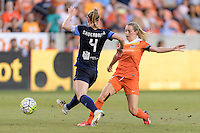 Houston, TX - Sunday June 19, 2016: Kealia Ohai, Becky Sauerbrunn during a regular season National Women's Soccer League (NWSL) match between the Houston Dash and FC Kansas City at BBVA Compass Stadium.