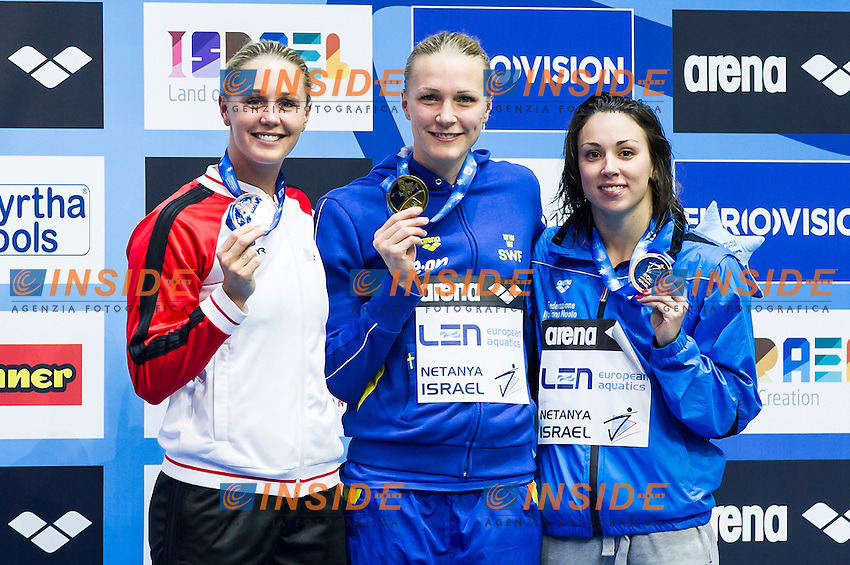 SJOESTROEM Sarah SWE gold medal and OTTESEN Jeanette DEN silver medal, DIPIETRO Silvia ITA bronze medal<br /> Women's 50m butterfly final<br /> Netanya, Israel, Wingate Institute<br /> LEN European Short Course Swimming Championships  Dec. 2 - 6, 2015 Day02 Dec. 3nd<br /> Nuoto Campionati Europei di nuoto in vasca corta<br /> Photo Insidefoto