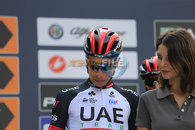 Fabio Aru (ITA) UAE Team Emirates at sign on before the start of the 99th edition of Milan-Turin 2018, running 200km from Magenta Milan to Superga Basilica Turin, Italy. 10th October 2018.<br /> Picture: Eoin Clarke | Cyclefile<br /> <br /> <br /> All photos usage must carry mandatory copyright credit (© Cyclefile | Eoin Clarke)