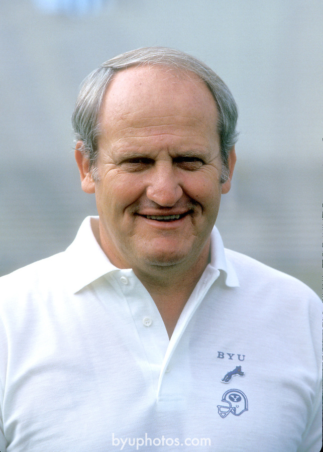 84Lavell-1924<br /> <br /> Football Photoday in uniform Coach LaVell Edwards<br /> <br /> August 11, 1984<br /> <br /> Photo by Mark Philbrick/BYU<br /> <br /> Copyright BYU Photo 2009<br /> All Rights Reserved <br /> photo@byu.edu  (801)422-7322