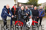 Attending the Honda 50 run at the Anvil Bar for the Palliative Care Unit on Sunday,<br /> Frank O&rsquo;Connor (Ballymac) on the bike <br /> L-r, Darren Foran (Keel), Maurice McAuliffe (Brosna), Neill Breen (Ballymac), Eamon Burnsford (Waterford), Stephen O&rsquo;Connor (Keel), Jerry McCarthy (Cork), Tim McAuliffe (Knocknagoshel) and Tim Sheehan (Boulteens).