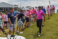 Brooks Koepka (USA) shakes hands with fans as he departs 18 after he tied the course record of 63 during round 4 of The Players Championship, TPC Sawgrass, at Ponte Vedra, Florida, USA. 5/13/2018.<br /> Picture: Golffile | Ken Murray<br /> <br /> <br /> All photo usage must carry mandatory copyright credit (&copy; Golffile | Ken Murray)