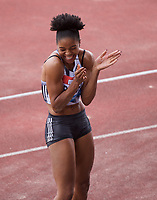 Abigail Irozuru (Great Britain) qualifies for Doha with a sb of  6.75m while competing in the Women's long jump during the IAAF Diamond League Athletics Müller Grand Prix Birmingham at Alexander Stadium, Walsall Road, Birmingham on 18 August 2019. Photo by Alan  Stanford.