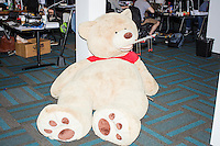 A large teddy bear is seen on the ground near where employees work in the offices of Quantopian in the Downtown Crossing area of Boston, Mass., on Wed., June 1, 2016. Quantopian is a Boston-based start-up that provides a platform for building, testing, and executing stock trading algorithms.