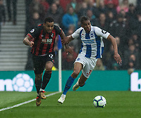 Bournemouth's Joshua King (left) battles with Brighton & Hove Albion's Bernardo (right) <br /> <br /> Photographer David Horton/CameraSport<br /> <br /> The Premier League - Brighton and Hove Albion v Bournemouth - Saturday 13th April 2019 - The Amex Stadium - Brighton<br /> <br /> World Copyright © 2019 CameraSport. All rights reserved. 43 Linden Ave. Countesthorpe. Leicester. England. LE8 5PG - Tel: +44 (0) 116 277 4147 - admin@camerasport.com - www.camerasport.com