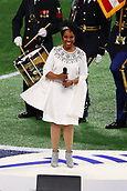 3rd February 2019, Atlanta Georgia, USA; NFL Superbowl LIII, New England Patriots versus Los Angeles Rams;  Atlanta native Gladys Knight sings the National Anthem prior to Super Bowl LIII