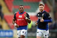 Anthony Watson and Max Wright of Bath Rugby look on during the pre-match warm-up. Gallagher Premiership match, between Leicester Tigers and Bath Rugby on May 18, 2019 at Welford Road in Leicester, England. Photo by: Patrick Khachfe / Onside Images