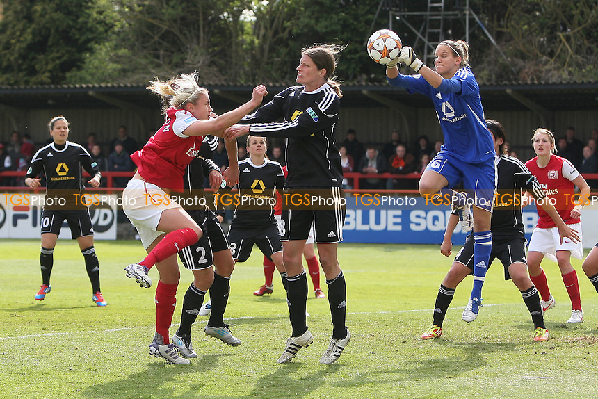 Steph Houghton of Arsenal is denied by Frankfurt goalkeeper Desiree Schumann - Arsenal Ladies vs Frankfurt - UEFA Womens Champions League Semi-Final First Leg at Boreham Wood FC - 15/04/12 - MANDATORY CREDIT: Gavin Ellis/TGSPHOTO - Self billing applies where appropriate - 0845 094 6026 - contact@tgsphoto.co.uk - NO UNPAID USE.