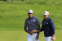 Tony Finau and Brooks Koepka Team USA on the 16th green during Friday's Fourball Matches at the 2018 Ryder Cup, Le Golf National, Iles-de-France, France. 28/09/2018.<br /> Picture Eoin Clarke / Golffile.ie<br /> <br /> All photo usage must carry mandatory copyright credit (© Golffile | Eoin Clarke)