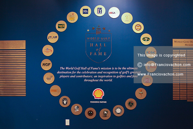 Logos of the World Golf Hall of Fame partners are seen in St. Augustine, Florida Friday April 26, 2013. Located in The World Golf Village, the World Golf Hall of Fame features exhibits on the game's history, heritage, and techniques and a Hall of Fame.