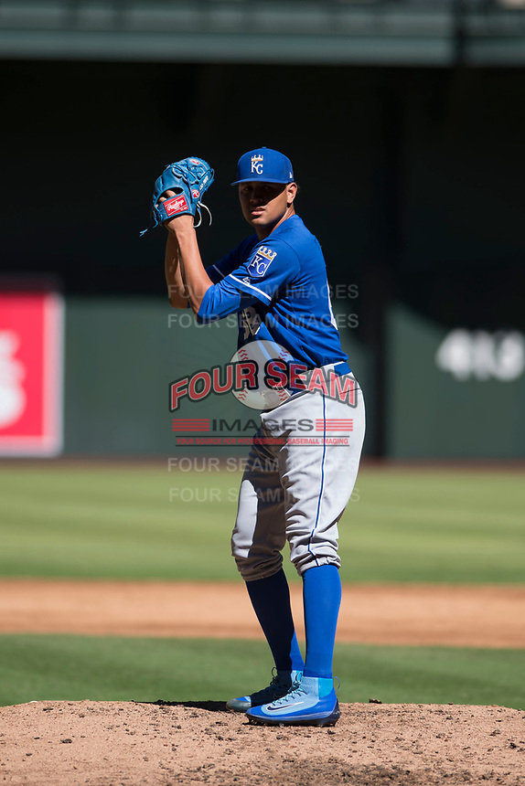 Kansas City Royals relief pitcher Julio Pinto (68) prepares to deliver a pitch during an Instructional League game against the Arizona Diamondbacks at Chase Field on October 14, 2017 in Scottsdale, Arizona. (Zachary Lucy/Four Seam Images)