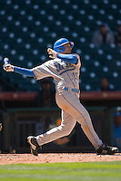 Justin Uribe #15 of the UCLA Bruins follows through on his swing versus the UC-Irvine Anteaters in the 2009 Houston College Classic at Minute Maid Park March 1, 2009 in Houston, TX.  The Anteaters defeated the Bruins 7-4. (Photo by Brian Westerholt / Four Seam Images)