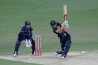 Sam Billings in batting action for Kent as Adam Wheater looks on from behind the stumps during Kent Spitfires vs Essex Eagles, Vitality Blast T20 Cricket at the St Lawrence Ground on 2nd August 2018