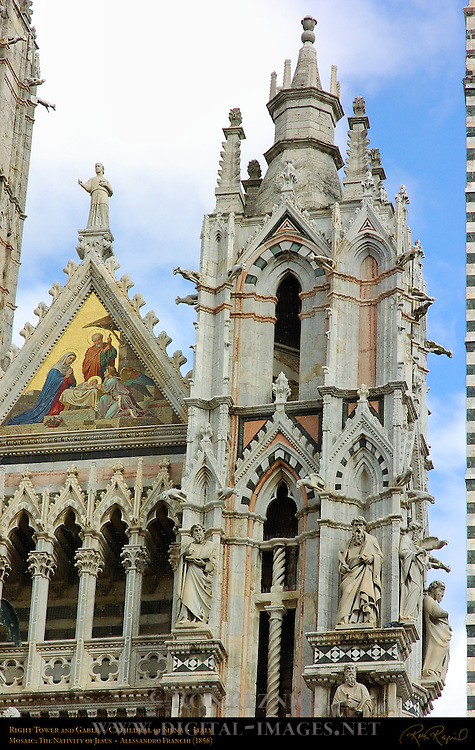 Right Tower and Gable, Mosaic Nativity of Jesus, Alessandro Franchi 1878, Gothic Statuary, Cathedral of Siena, Santa Maria Assunta, Siena, Italy