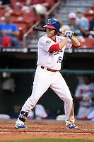 Buffalo Bisons first baseman Dan Johnson (16) at bat during a game against the Gwinnett Braves on May 13, 2014 at Coca-Cola Field in Buffalo, New  York.  Gwinnett defeated Buffalo 3-2.  (Mike Janes/Four Seam Images)