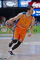 VALENCIA, SPAIN - 05/12/2014. Ribas del Valencia Basket durante el partido. Pabellon Fuente de San Luis, Valencia, Spain.