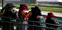 LOUISVILLE, KY - MAY 06: Four women wear hats on Kentucky Derby Day at Churchill Downs on May 6, 2017 in Louisville, Kentucky. (Photo by Scott Serio/Eclipse Sportswire/Getty Images)