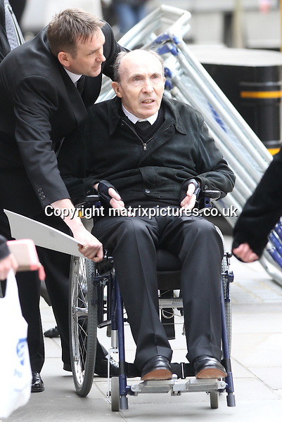 NON EXCLUSIVE PICTURE: MATRIXPICTURES.CO.UK.PLEASE CREDIT ALL USES..WORLD RIGHTS..British Williams Formula 1 Racing founder Frank Williams attending the funeral service of British former Prime Minister Margaret Thatcher, at London's St Paul's Cathedral...Thatcher's coffin arrived on a gun carriage drawn by six horses of the King's Troop Royal Horse Artillery...APRIL 17th 2013..REF: WTX 132515