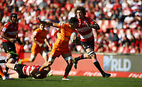 Franco Mostert of the Emirates Lions  looks to tackle Pablo Matera (captain) of the Jaguares during the Super Rugby quarter-final match between the Emirates Lions and the Jaguares at the Emirates Airlines Park Stadium,Johannesburg, South Africa on Saturday, 21 July 2018. Photo: Steve Haag / stevehaagsports.com