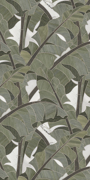 Carmen, a stone waterjet mosaic, shown in Calacatta Tia, Montevideo, and Verde Luna, is part of the Ann Sacks Beau Monde collection sold exclusively at www.annsacks.com