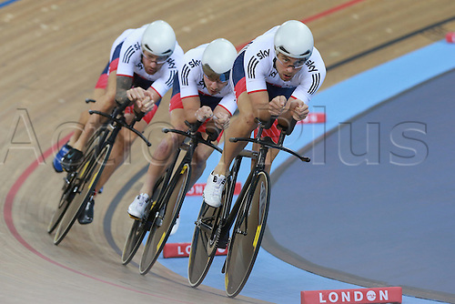 03.03.2016. Lee Valley Velo Centre, Lonodn England. UCI Track Cycling World Championships Mens Team Pursuit.  Team  Great Britain<br /> DIBBEN Jonathan - BURKE Steven - DOULL Owain - WIGGINS Bradley