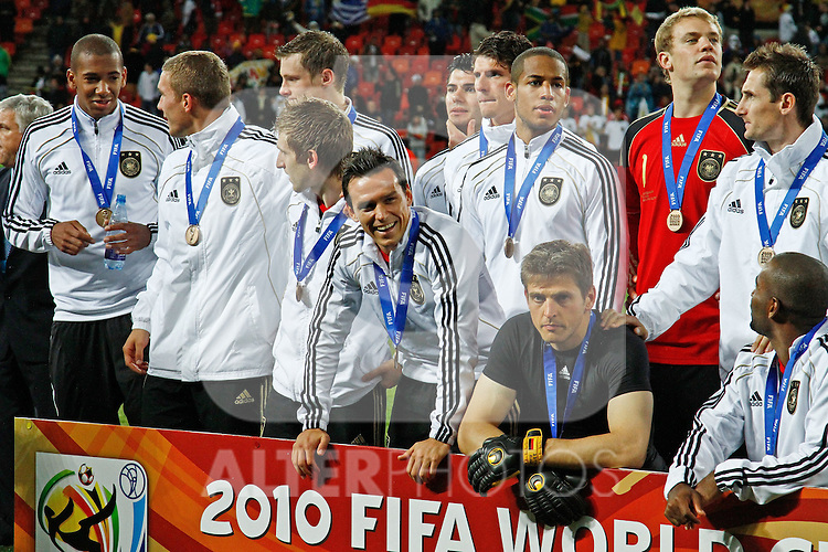 The German team after the FIFA World Cup 2010 3rd Place Play off match between Uruguay and Germany held at The Nelson Mandela Bay Stadium  in Port Elizabeth, South Africa on the 10 July 2010... ..Foto ©  nph /  Kokenge