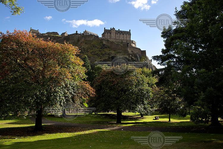 Edinburgh Castle looms over Princes Street Gardens.