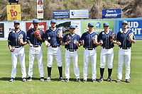 Asheville Tourists relief pitchers Justin Lawrence (27), Julian Fernandez (22), Bryan Baker (33), Ty Culbreth (38), J.D. Hammer (34), Dennis Matt (30) and Kenny Oakley (17) during media day at McCormick Field on April 4, 2017 in Asheville, North Carolina. (Tony Farlow/Four Seam Images)