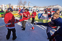 Revellers play in a giant human Foosball game at the Carnaval de Quebec winter Carnival in Quebec City Wednesday February 13, 2013. The Carnaval de Quebec is one of the biggest winter festival in the World.