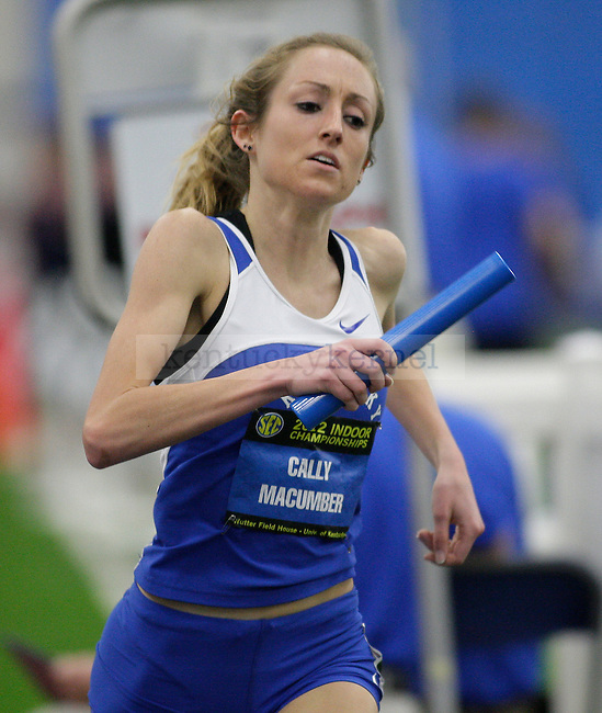 Cally Macumber competes in the distance medley relay at Men's and Women's SEC Track and Field meet at Nutter Field House in Lexington, Ky., on Sunday, Feb. 26, 2012. Photo by Tessa Lighty | Staff