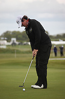Rory McElroy playing the third green after play restarted on day 3 at the 3 Irish open in Co Louth Golf Club...Photo: Fran Caffrey/www.golffile.ie..
