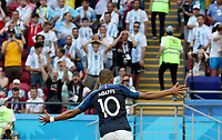 KAZAN - RUSIA, 30-06-2018: Kylian MBAPPE jugador de Francia celebra después de anotar el segundo gol a Argentina durante partido de octavos de final por la Copa Mundial de la FIFA Rusia 2018 jugado en el estadio Kazan Arena en Kazán, Rusia. / Kylian MBAPPE player of France celebrates after scoring the second goal to Argentina during match of the round of 16 for the FIFA World Cup Russia 2018 played at Kazan Arena stadium in Kazan, Russia. Photo: VizzorImage / Julian Medina / Cont