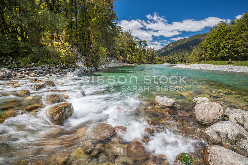 The Jackson River, South Westland, New Zealand - stock photo, canvas, fine art print