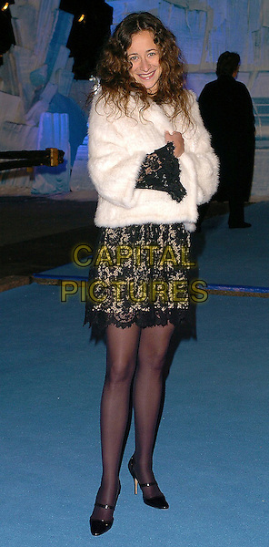 "LEAH WOOD.""The Chronicles of Narnia: The Lion, The Witch & The Wardrobe"" - world premiere at the Royal Albert Hall, London, UK..December 7th, 2005.Ref: CAN.full length black lace skirt white fur coat.www.capitalpictures.com.sales@capitalpictures.com.©Capital Pictures"