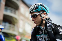 Tony Martin (DEU/Ettix-Quickstep) checking his ear-piece before the start<br /> <br /> 79th Fl&egrave;che Wallonne 2015