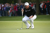 Shane Lowry (IRL) with a birdie chance on the last  during the Final Round of the British Masters 2015 supported by SkySports played on the Marquess Course at Woburn Golf Club, Little Brickhill, Milton Keynes, England.  11/10/2015. Picture: Golffile | David Lloyd<br /> <br /> All photos usage must carry mandatory copyright credit (&copy; Golffile | David Lloyd)