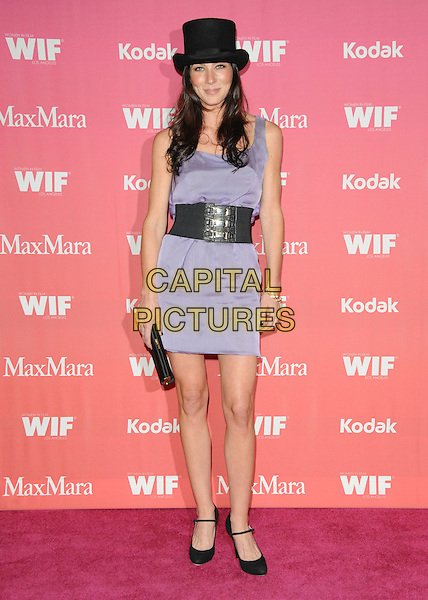 LILY COLLINS .at The Women in Film 2009 Crystal .and Lucy Awards held at The Hyatt Regency Century Plaza in Century City, California, USA, June 12th 2009                                                                     .full length black top hat purple dress waist belt mary jane shoes clutch bag sleeveless .CAP/DVS.©Debbie VanStory/RockinExposures/Capital Pictures
