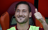 Calcio, Serie A: Roma, stadio Olimpico, 28 maggio 2017.<br /> AS Roma' s Francesco Totti  waits for the start of the Italian Serie A football match between AS Roma and Genoa at Rome's Olympic stadium, May 28, 2017.<br /> Francesco Totti's final match with Roma after a 25-season career with his hometown club.<br /> UPDATE IMAGES PRESS/Isabella Bonotto