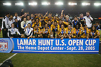 The Los Angles Galaxy poses for a photo after defeating FC Dallas 1-0, at the US Open Cup, in the half at the Home Depot Center, in Carson, Calif., Wednesday, September 28, 2005.