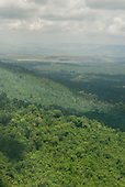 Para state, Brazil. Aerial view of Forested hills and farmland beyond.